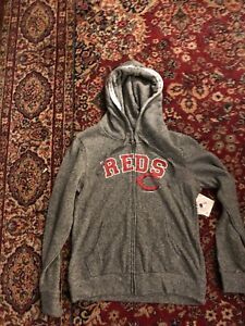 CINCINNATI REDS LADIES GRAY HOODIE WITH POCKETS NWT ZIPPER UP FRONT 2XL