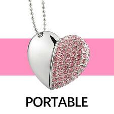 Pink Crystal Heart Shape 16GB USB 2.0 Flash Pen Drive Thumb Memory Stick U Disk