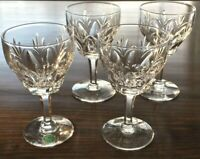 "Set of 4 Cut Crystal Wine Sherry glasses STUART England CARDINAL 4.25"" Vintage"