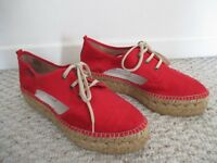 Gaimo Espadrille Red Lace-Up Shoes Size 40 NEW Made in Spain