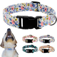 Fashion Floral Pet Cat Dog Collars Adjustable Nylon Quick Fit Small Medium Large