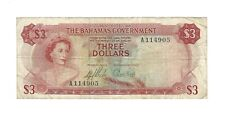 BAHAMAS 1965 $3 Dollars, P-19 Government Issue, VF, Popular QEII Type, A-Prefix