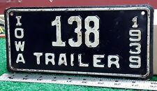 IOWA - 1939 Trailer license plate, all original, low number- rare type, nice one