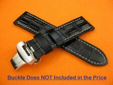 24mm HORNBACK CROC Deployment Leather Strap Black Watch Band PAM W