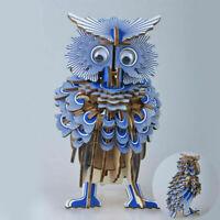 Construction Kit Toy Model DIY 3D Woodcraft Wooden Owl Puzzle Bird Jigsaw Kids