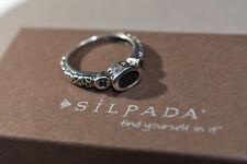 Silpada 925 Sterling Silver Black CZ Little Black Dress Ring Size 7 R2398 Cubic