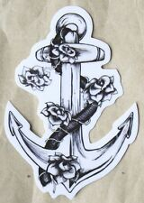 Anchor, Rope and Roses PVC Sticker Rockabilly Tattoo Style Luggage Laptop