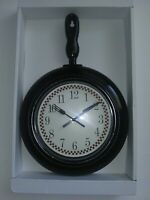 "Frying Pan Skillet Black Kitchen Wall Clock 10.23""x14.96"" Kitchen Home Decor"