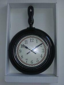 "Frying Pan Skillet Black Kitchen Wall Clock 10.23""x14.96"" Kitchen Home Decor"