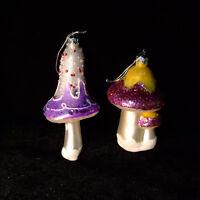 "Christmas Tree Glass Ornaments Mushrooms 2pc Lot Large 5"" glitter Vintage German"