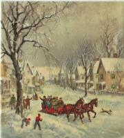 VINTAGE CHRISTMAS VICTORIAN RED SLEIGH RIDE HORSES DOG HOUSES SNOW VILLAGE CARD