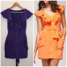 BEBE ZIP SILKY RUFFLE DRESS TIE BACK or FRONT W/ POCKETS SMALL STRETCHY