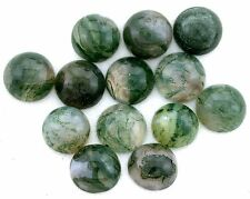FOUR 8.5mm Round Natural Moss Agate Round Cabochon Cab Gem Stone Gemstone CM45