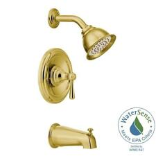 MOEN Kingsley Posi-Temp 1-Handle Tub and Shower Trim Kit in Polished Brass