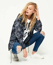 Womens Superdry Sports Code Mac Cagoule Jacket Size UK L 14 Nickel Marble Black