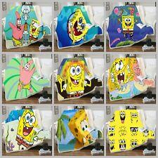 SpongeBob SquarePants 3D Print Sherpa Blanket Sofa Couch Quilt Cover Throw R75