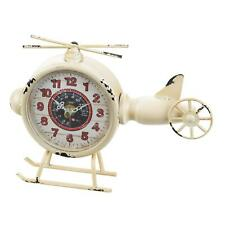 Helicopter Desk Clock Mantel Shelf Rustic Primitive Distressed Country Aviation
