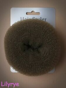 BROWN BUN HAIR DOUGHNUT SHAPER FORMER RING HAIRDRESSING SIZE: S M L