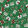Sale Inprint 100% Cotton Fabric Christmas Santa's & Robins In The Snow