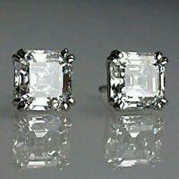 2 Ct Asscher Cut Moissanite Crown Stud Womens Earrings 14K White Gold FN Silver