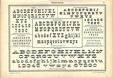 Stampa antica ALFABETI e NUMERI ANTIQUA ITALIANO 1898 Old Print Alphabet Writing