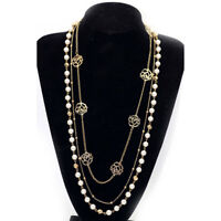 Women Multi Layer Long Necklace Imitation Pearls Flower Sweater Chain Necklaces