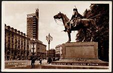 AX0654 Torino - Piazza Castello e Monumento al Cavaliere d'Italia - Cartolina