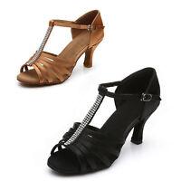 Brand New Women's Ballroom Latin Tango Dance Shoes heeled Salsa Black Brown 5cm