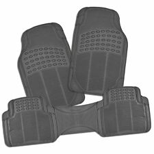 Zone Tech 3 Piece Gray Universal Trimable Full Rubber-All Weather Car Floor Mats