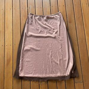 Vintage Laura K Size 14 A Line Skirt Brown Pink Mesh Lined 90s Retro Party