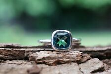 Sterling Silver Ring Green Quartz Cushion Gemstone 925 Fine Handmade Ring