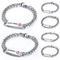 Men Women Laser Engraved Bracelets Medical Alert Stainless Steel Wristlet Bangle
