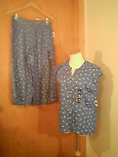 Gap Body women's blue sleepwear set with pineapples, M, 100% Rayon, unlined