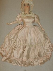 """Early Vintage French Boudoir Doll 25"""" with Handmade Dress Composition"""