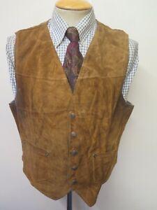 "Vintage Schott Bros Rancher Suede Gilet Waistcoat XL 46"" Euro 56"