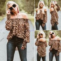 Womens Off Shoulder Blouse Hot Sexy Women Leopard Print Long Sleeve Blouse Tops