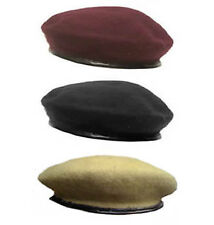 Highlander Military Beret Cap with Leather Trim 100% Wool 25.5x24.5x1.5cm - NEW