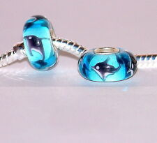 925 STERLING SILVER SINGLE CORE MURANO GLASS ANIMAL BEAD/CHARM- DOLPHIN