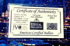 COA Palladium 99.9 Pure 1 GRAM Precious Metal ACB Very Rare Bullion PD Bar wow