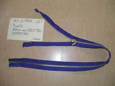1 Purple 25inch #5 Brass Metal Separating heavy Zipper with fancy pull Vintage