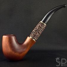 """7.1"""" Pear smoking pipe with embossed leather for 9mm filter   pipes  (18cm)"""