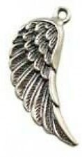 DH76aS - 1 .925 Sterling Silver Bright Shiny Fancy Angel Wing Pendant Left