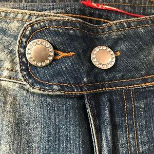 Blue Stretchy Denim Jeans Ladies Women Plus Size 19 Waist + Bling Buttons