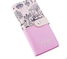 Soft Leather Wallet Women Long Hasps Card Purses Secret Garden Polyester Clutch