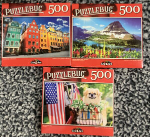 Lot of 3Puzzlebug Jigsaw Puzzles 500 Pieces New Sealed CrazArt New 🔥🔥🔥