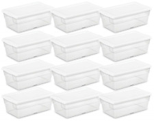 12 Pack Large Plastic Storage Box Set Container Clear Tote Bin Stackable Lid Bin