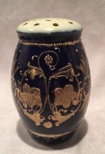 Antique Nippon Hand Painted Talc Perfumed Dusting Powder Shaker Jar Cobalt Gold