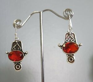 925 Sterling Silver Overlaid Faceted Garnet Quartz Dangle Earrings