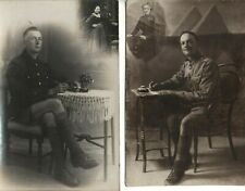 2x WW1 soldier son portrait with inset of their Mother