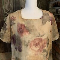 Vintage Christy Lyn Sz 16 Dress 90's Muted Floral Crinkle Sheer Short Slv Lined